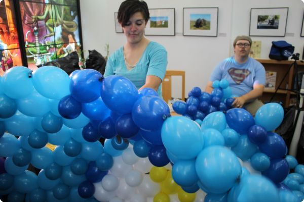 Jerem Telford and Jelly Otis put in long hours to get this balloon sculpture finished